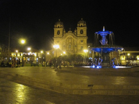 Cusco Cathedral and Main Plaza at Night